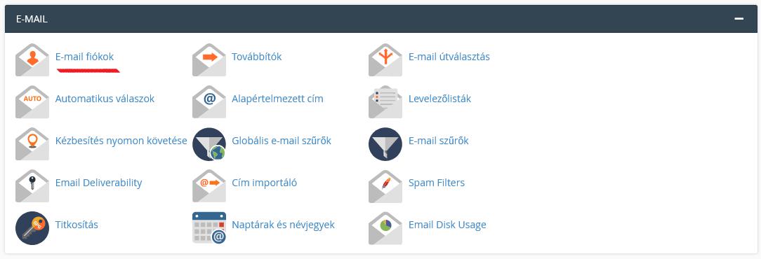 cPanel Email postafiók lérehozása